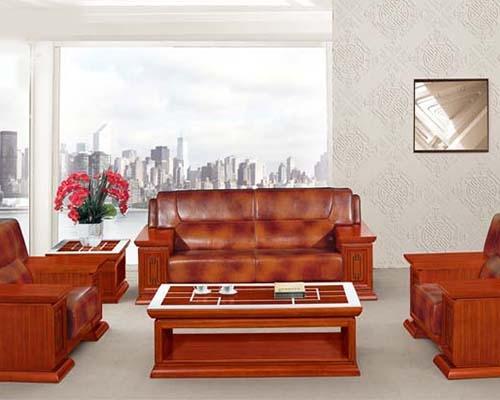 北京HY-S967泰柚木牛皮沙发