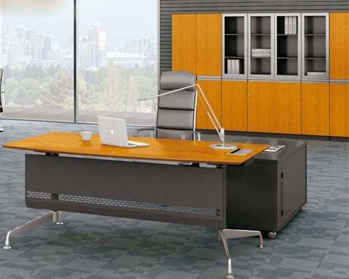 竹木板式办公桌 H60-0105(弧边)